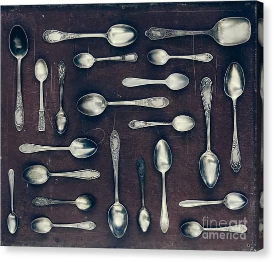 Medical Canvas Print - Vintage Set Of Dessert Spoons On A Dark by Evgeniya Porechenskaya