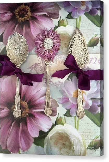 Parisian Canvas Print - Vintage Spoons Flatware Lavender Purple Pink Floral Spoon Kitchen Wall Decor by Kathy Fornal