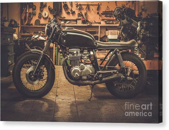 Style Canvas Print - Vintage Style Cafe-racer Motorcycle In by Nejron Photo