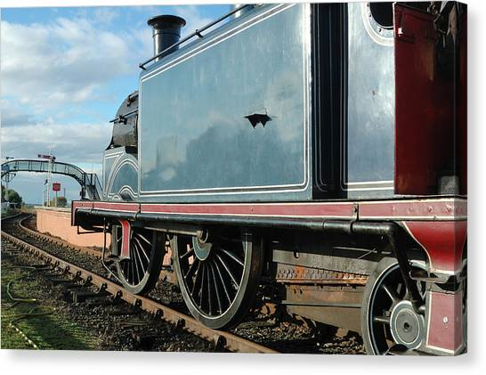 Trainspotting Canvas Print - Vintage Train Engine And Railway Bridge by Victor Lord Denovan