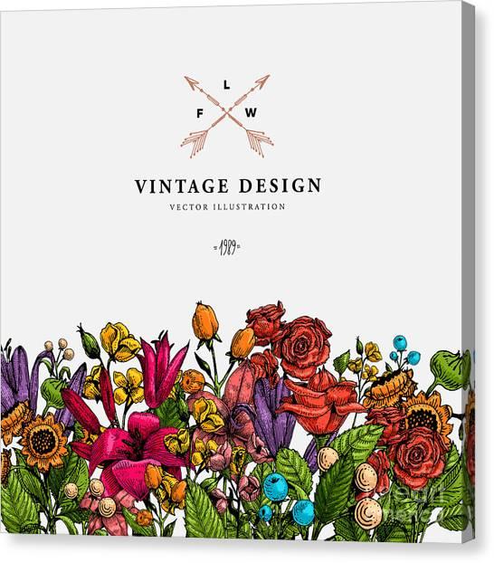 Victorian Garden Canvas Print - Vintage Vector Card With Engraving by Ozz Design