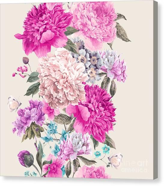 Victorian Garden Canvas Print - Vintage Watercolor Vector Floral by Depiano