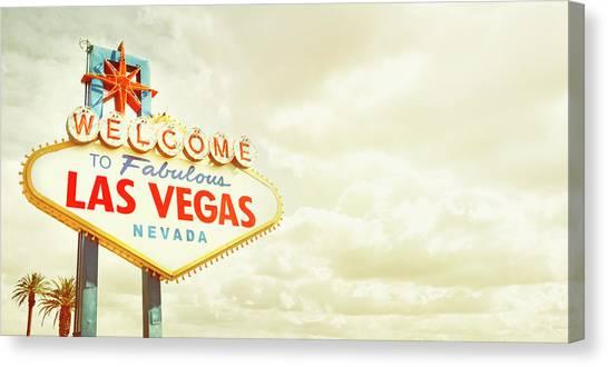 Cloudscape Canvas Print - Vintage Welcome To Fabulous Las Vegas by Powerofforever