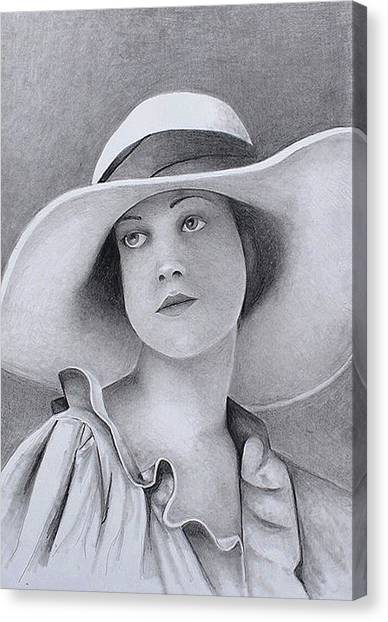 Vintage Woman In Brim Hat Canvas Print