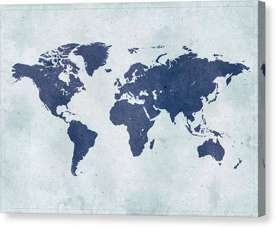 Vintage World Map Canvas Print by Yorkfoto