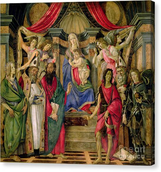 Botticelli Canvas Print - Virgin And Child With Saints From The Altarpiece Of San Barnabas, by Sandro Botticelli