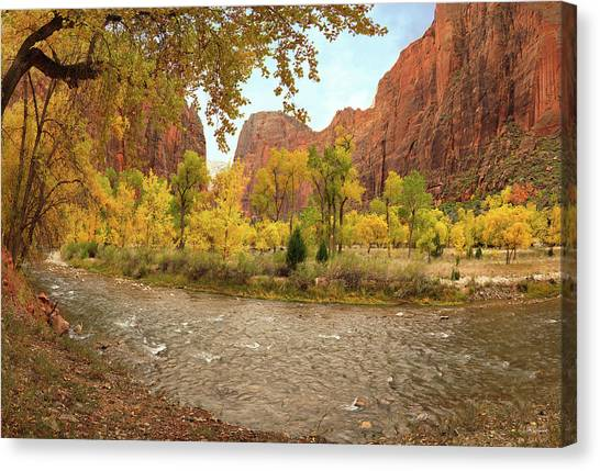 Virgin River Canyon In Autumn Canvas Print by Leland D Howard