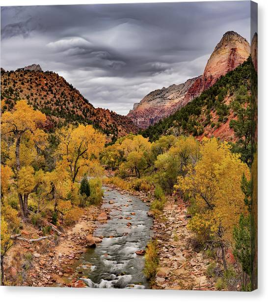 Virgin River Fall Canvas Print by Leland D Howard