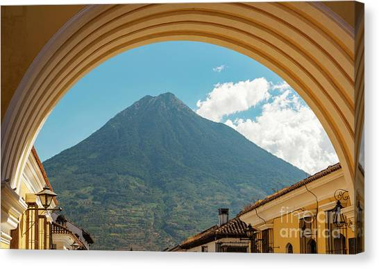 Canvas Print featuring the photograph Volcan De Agua Antigua Guatemala by Tim Hester