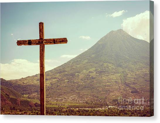 Canvas Print featuring the photograph Volcano And Cross In Antigua Guatemala by Tim Hester