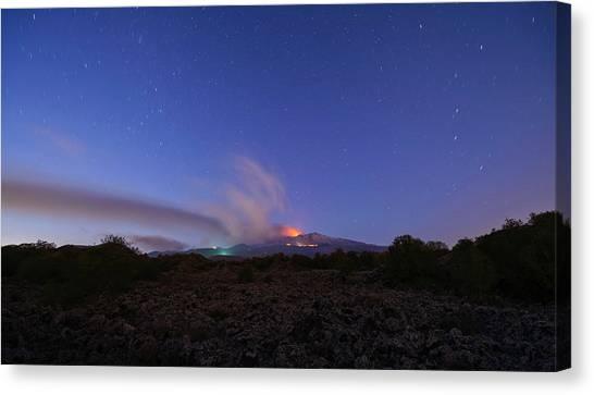 Canvas Print featuring the photograph Volcano Etna Eruption by Mirko Chessari