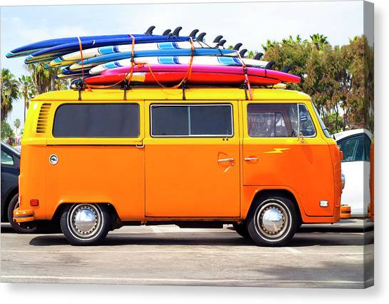 Volkswagen Bus With Surf Boards Canvas Print