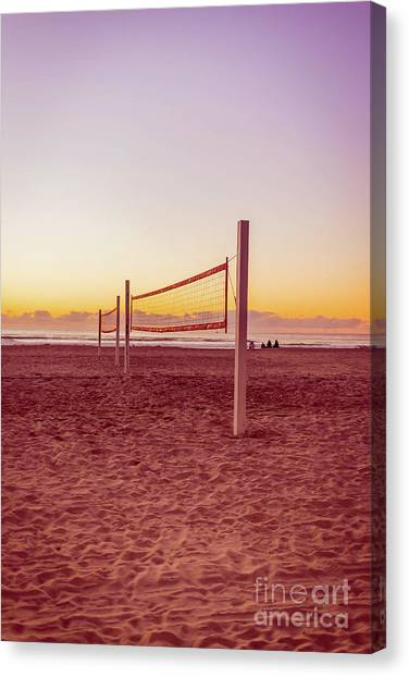 Mission San Diego Canvas Print - Volleyball Nets Sunset On Mission Beach by Edward Fielding