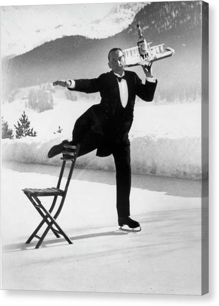 Waiter Renie Brequet W. A Tray Of Cockta Canvas Print