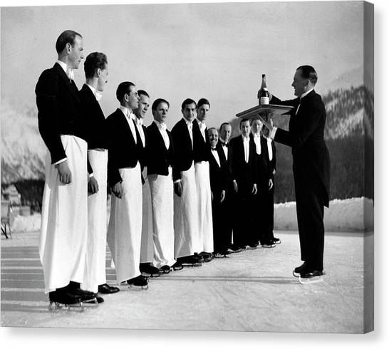 Waiters In Ice Skates Learning How To Se Canvas Print