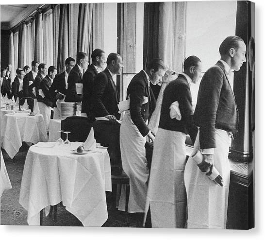 Waiters In The Grand Hotel Dining Room L Canvas Print