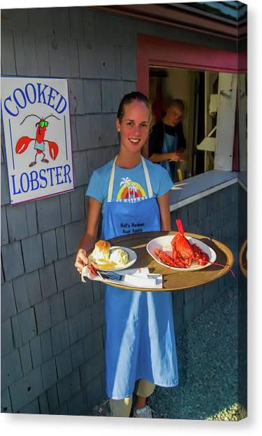 Nova Scotia Canvas Print - Waitress Serving Lobster  by David Smith