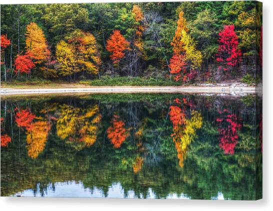 Walden Pond Fall Foliage Concord Ma Reflection Canvas Print
