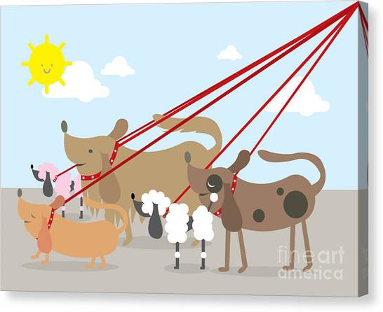 Exercising Canvas Print - Walking Dogs Vectorillustration by Lyeyee