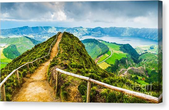 Atmosphere Canvas Print - Walking Path Leading To A View On The by Vicky Sp