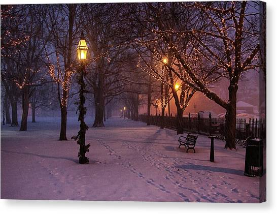 Walking The Path On Salem Ma Common Canvas Print