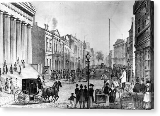 Wall Street In 1860s Canvas Print by Fpg