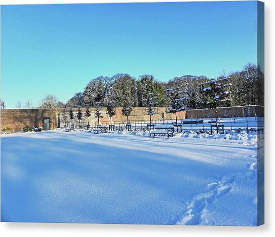 Walled Garden In The Snow Canvas Print