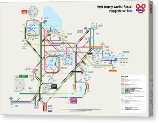 Cities Canvas Print - Walt Disney World Resort Transportation Map by Arthur De Wolf