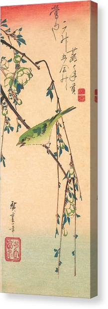 Warblers Canvas Print - Warbler On A Plum Branch by Utagawa Hiroshige