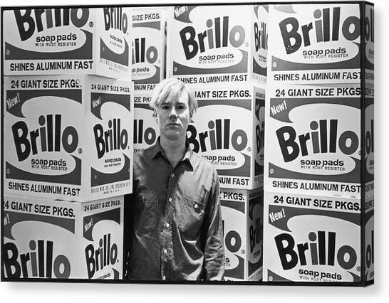 Warhol & Brillo Boxes At Stable Gallery Canvas Print by Fred W. McDarrah