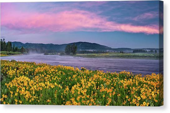 Warm River Spring Sunrise Canvas Print