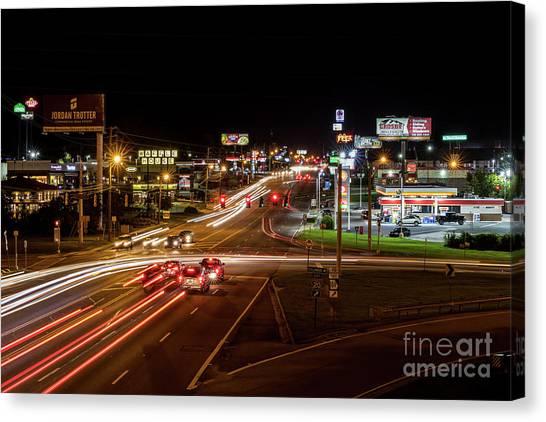 Washington Road At Night - Augusta Ga Canvas Print