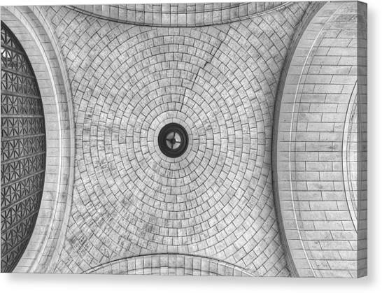 Amtrak Canvas Print - Washington Union Station Ceiling 2 Washington D.c. - Black And White  by Marianna Mills