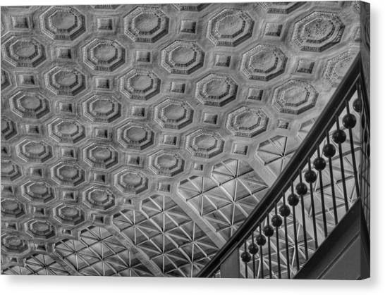 Amtrak Canvas Print - Washington Union Station Ceiling Washington D.c. - Black And White by Marianna Mills