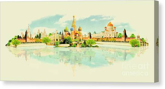 Famous Places Canvas Print - Water Color Vector Panoramic Moscow View by Trentemoller