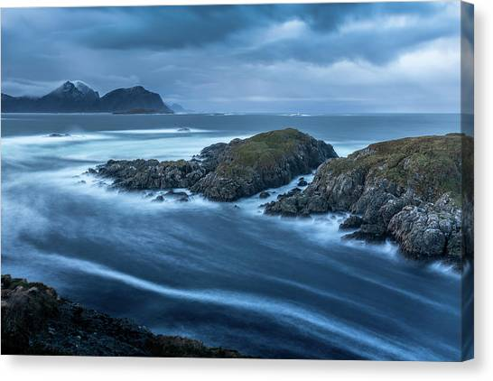 Water Flow At Stormy Sea Canvas Print