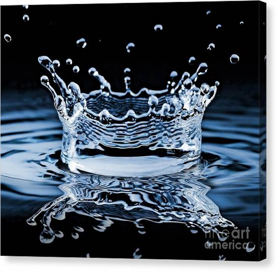 Water Splash On Black Background Canvas Print by 26kot