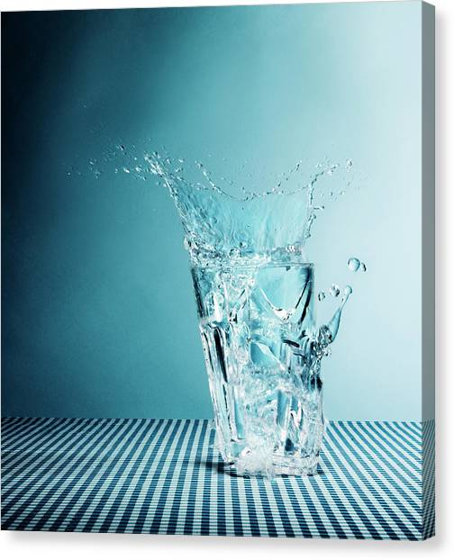Water Splashing From Broken Glass Canvas Print
