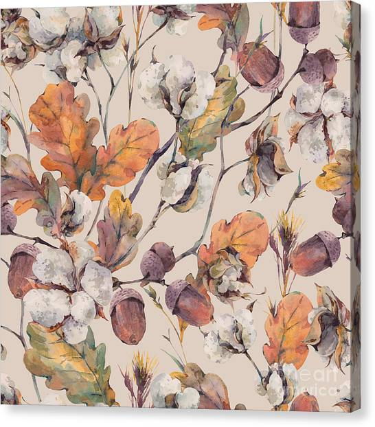 Wedding Bouquet Canvas Print - Watercolor Autumn Vintage Background by Depiano