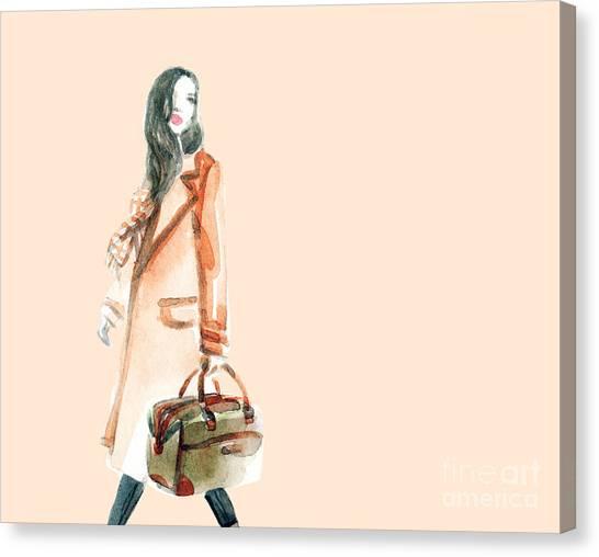 Sensual Canvas Print - Watercolor Fashion Illustration. Woman by Anna Ismagilova
