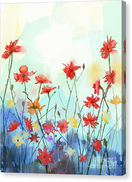 Purple Canvas Print - Watercolor Flowers Painting In Soft by Pluie r