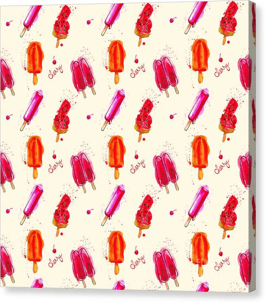 Block Canvas Print - Watercolor Ice Cream Popsicle Seamless by Artsandra