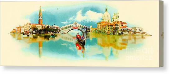 Monument Canvas Print - Watercolor Illustration Panoramic by Trentemoller