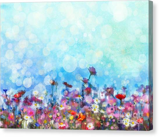 Purple Canvas Print - Watercolor Painting Purple Cosmos by Pluie r