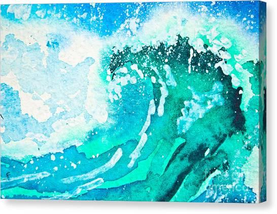 Sun Canvas Print - Watercolor Painting - Sea Wave by Iuliia Tarabanova