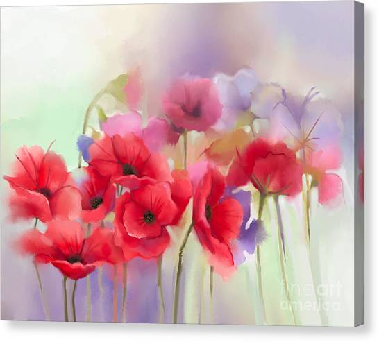 Nature Canvas Print - Watercolor Red Poppy Flowers Painting by Pluie r