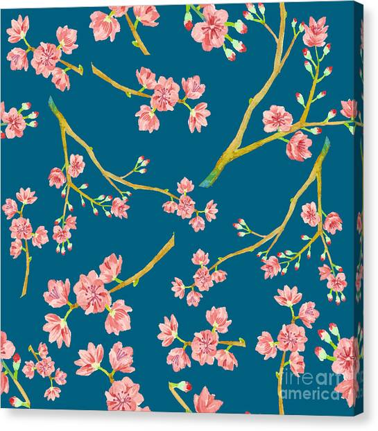 Japanese Gardens Canvas Print - Watercolor Sakura Pattern. Seamless by Eisfrei