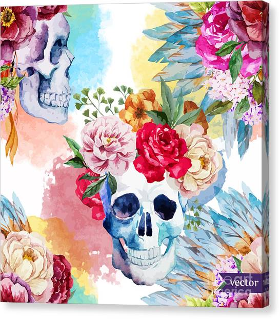 Watercolor, Skull, Flowers, Indian Canvas Print by Anastasia Lembrik