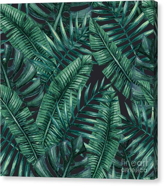 Botany Canvas Print - Watercolor Tropical Palm Leaves by Bigio