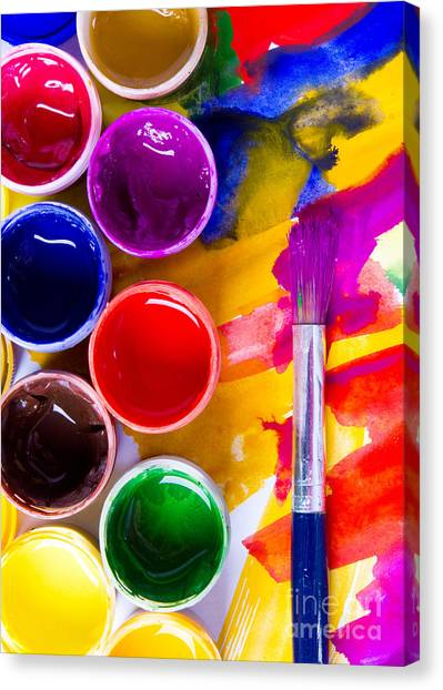 Utensil Canvas Print - Watercolors And Brushes by Vorobyeva